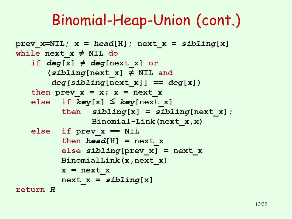 13/32 Binomial-Heap-Union (cont.) prev_x=NIL; x = head[H]; next_x = sibling[x] while next_x NIL do if deg[x] deg[next_x] or (sibling[next_x] NIL and d