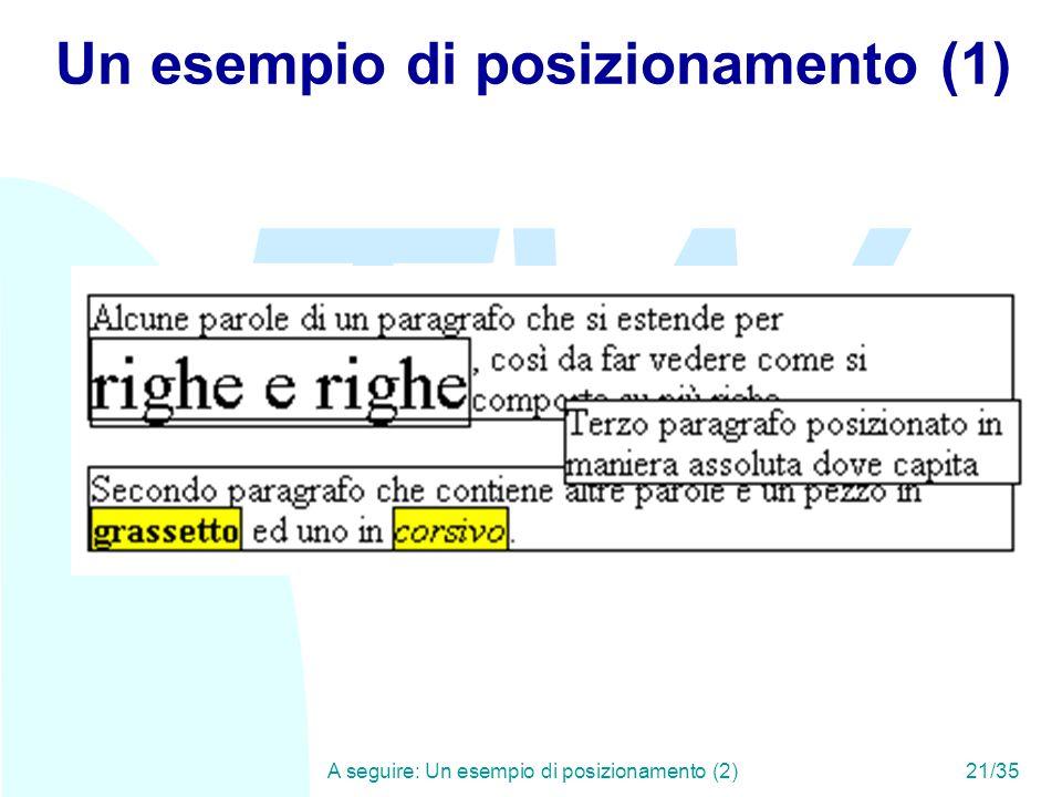 TW A seguire: Un esempio di posizionamento (2)21/35 Un esempio di posizionamento (1)