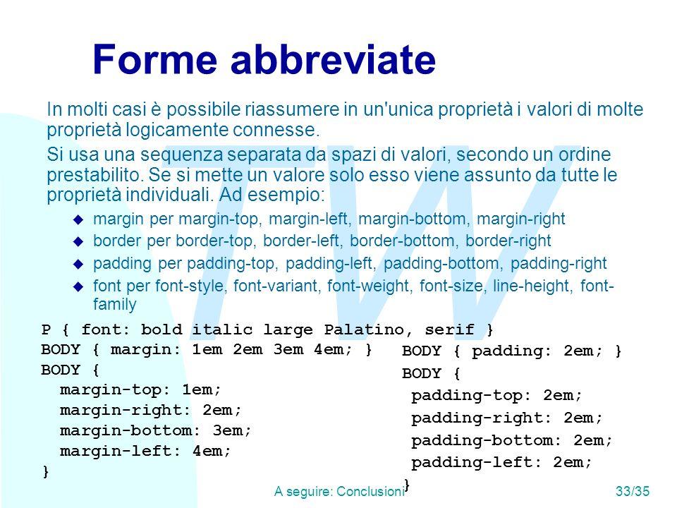 TW A seguire: Conclusioni33/35 Forme abbreviate In molti casi è possibile riassumere in un unica proprietà i valori di molte proprietà logicamente connesse.