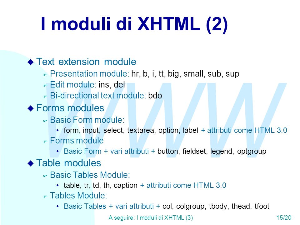 WWW A seguire: I moduli di XHTML (3)15/20 I moduli di XHTML (2) u Text extension module F Presentation module: hr, b, i, tt, big, small, sub, sup F Edit module: ins, del F Bi-directional text module: bdo u Forms modules F Basic Form module: form, input, select, textarea, option, label + attributi come HTML 3.0 F Forms module Basic Form + vari attributi + button, fieldset, legend, optgroup u Table modules F Basic Tables Module: table, tr, td, th, caption + attributi come HTML 3.0 F Tables Module: Basic Tables + vari attributi + col, colgroup, tbody, thead, tfoot
