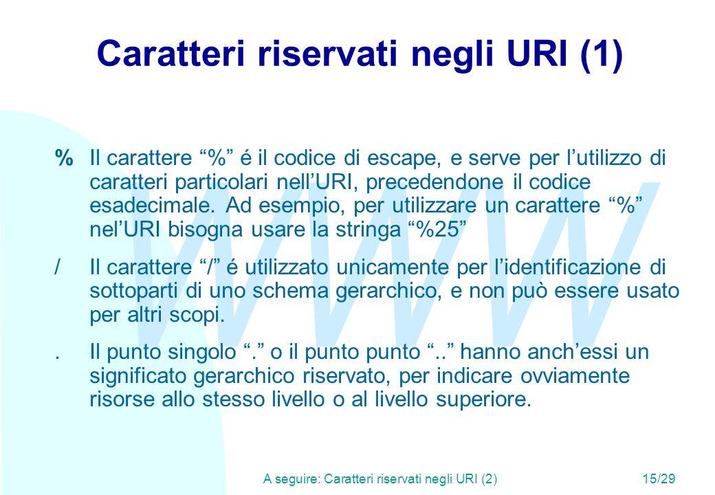 WWW A seguire: Caratteri riservati negli URI (2)15/29 Caratteri riservati negli URI (1) %Il carattere % é il codice di escape, e serve per lutilizzo di caratteri particolari nellURI, precedendone il codice esadecimale.