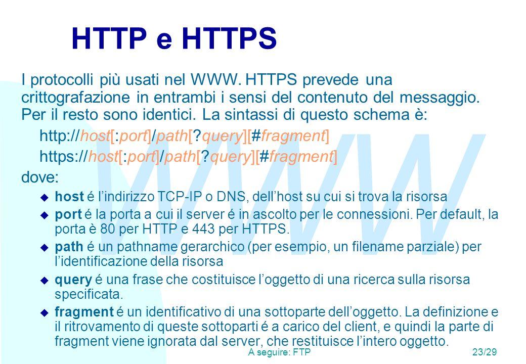 WWW A seguire: FTP23/29 HTTP e HTTPS I protocolli più usati nel WWW.