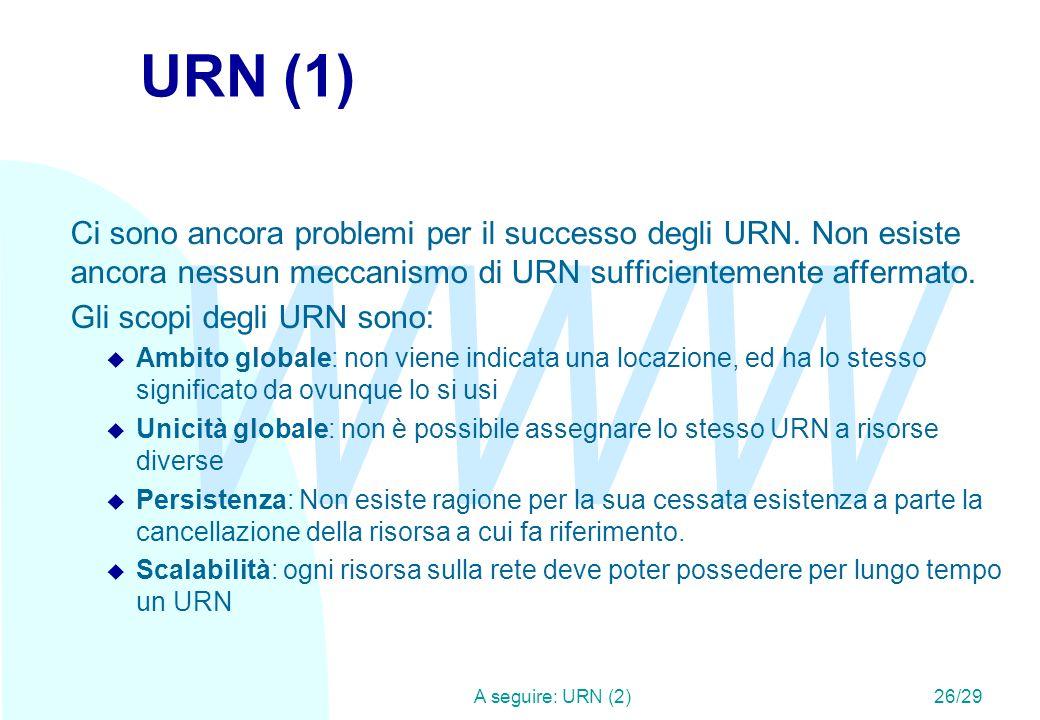 WWW A seguire: URN (2)26/29 URN (1) Ci sono ancora problemi per il successo degli URN.