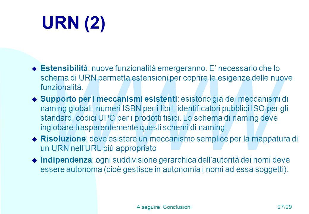 WWW A seguire: Conclusioni27/29 URN (2) u Estensibilità: nuove funzionalità emergeranno. E necessario che lo schema di URN permetta estensioni per cop