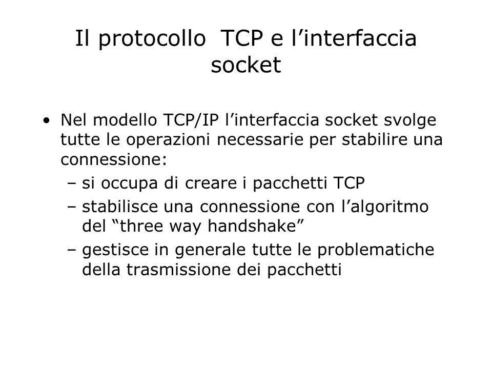 Il protocollo TCP e linterfaccia socket Nel modello TCP/IP linterfaccia socket svolge tutte le operazioni necessarie per stabilire una connessione: –s