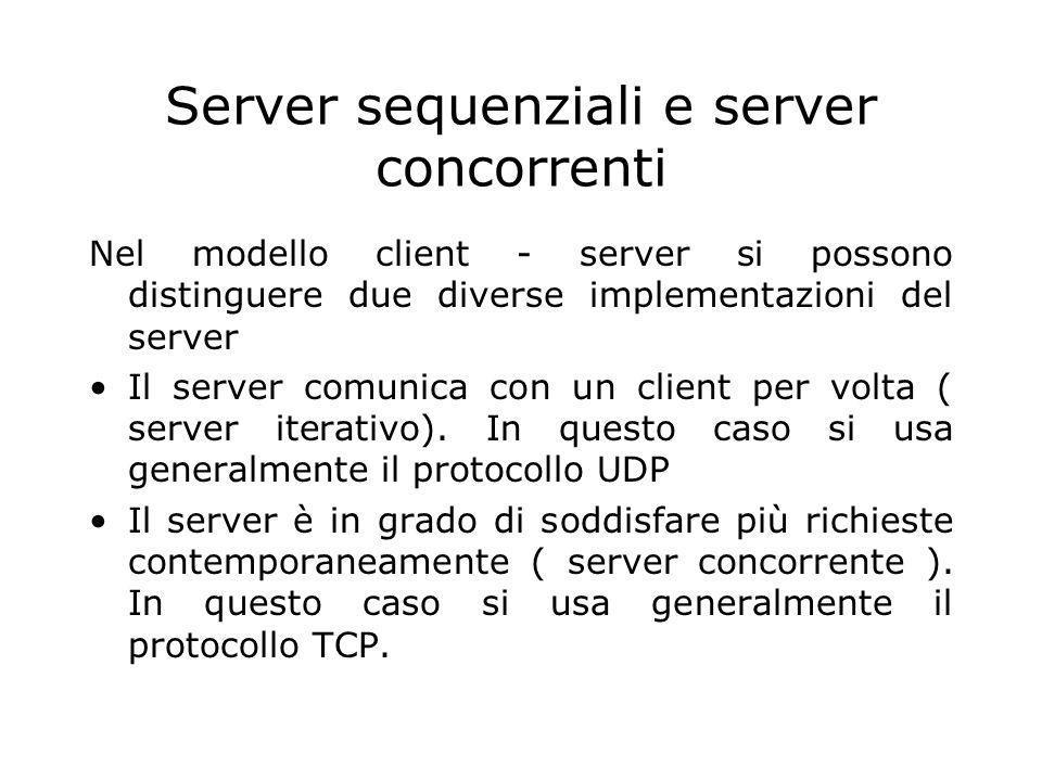 Server sequenziali e server concorrenti Nel modello client - server si possono distinguere due diverse implementazioni del server Il server comunica c
