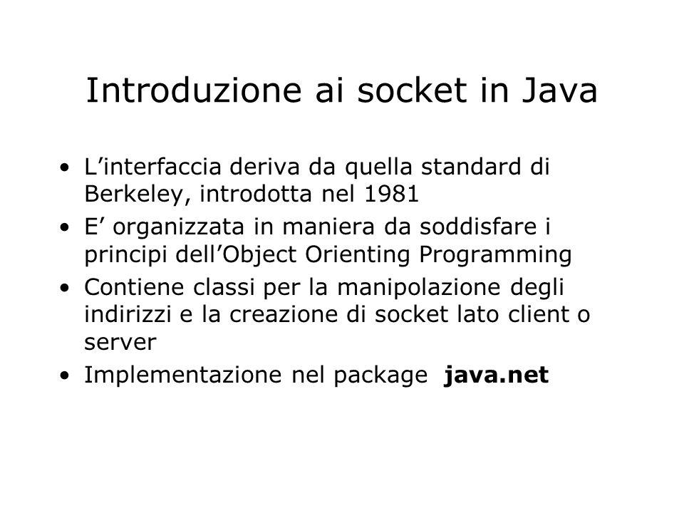 Introduzione ai socket in Java Linterfaccia deriva da quella standard di Berkeley, introdotta nel 1981 E organizzata in maniera da soddisfare i princi