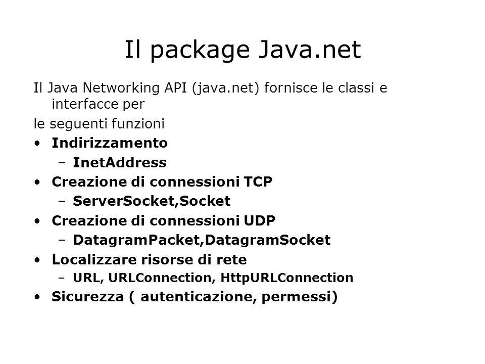 Il package Java.net Il Java Networking API (java.net) fornisce le classi e interfacce per le seguenti funzioni Indirizzamento –InetAddress Creazione d