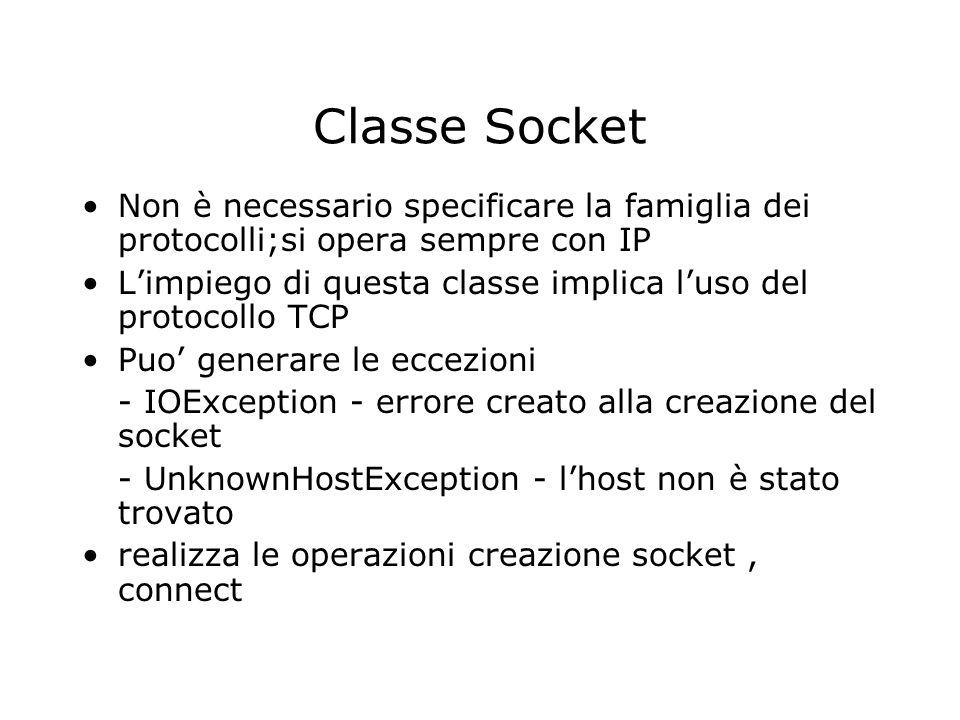 Classe Socket Non è necessario specificare la famiglia dei protocolli;si opera sempre con IP Limpiego di questa classe implica luso del protocollo TCP