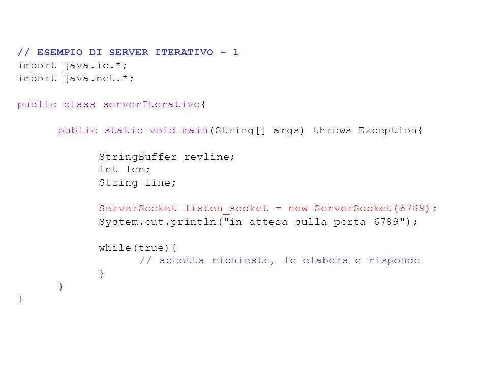 // ESEMPIO DI SERVER ITERATIVO - 1 import java.io.*; import java.net.*; public class serverIterativo{ public static void main(String[] args) throws Ex