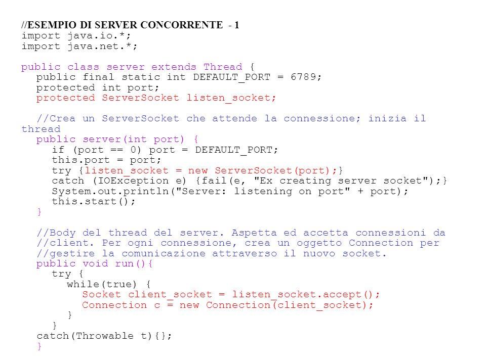 //ESEMPIO DI SERVER CONCORRENTE - 1 import java.io.*; import java.net.*; public class server extends Thread { public final static int DEFAULT_PORT = 6