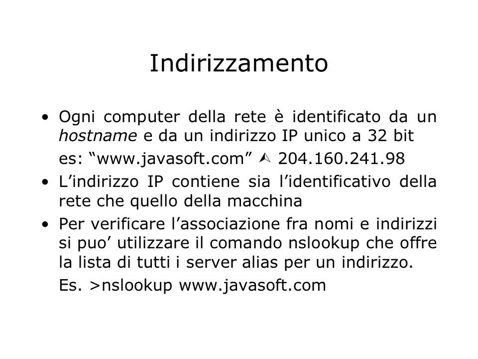 Indirizzamento Ogni computer della rete è identificato da un hostname e da un indirizzo IP unico a 32 bit es: www.javasoft.com 204.160.241.98 Lindiriz