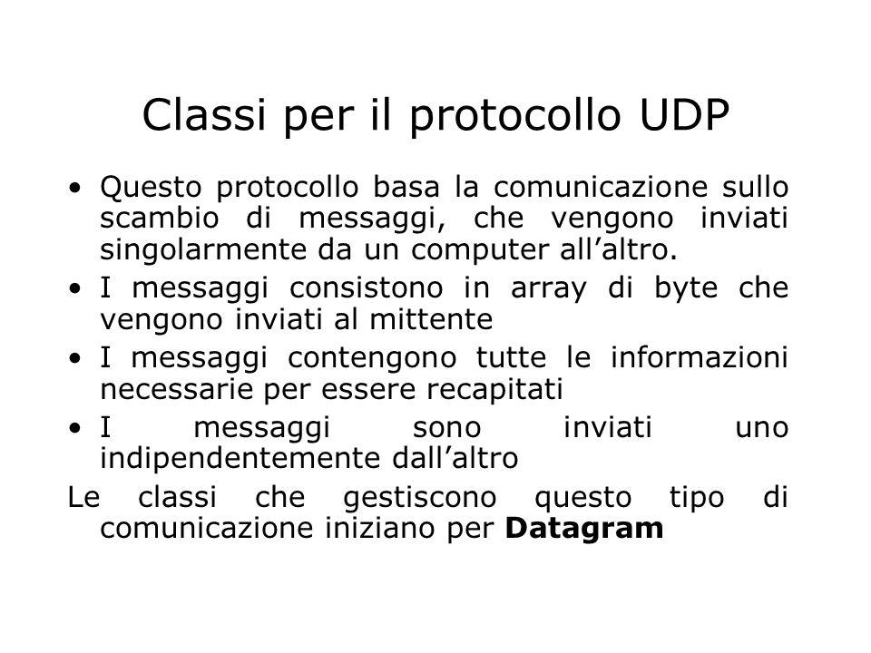 Classi per il protocollo UDP Questo protocollo basa la comunicazione sullo scambio di messaggi, che vengono inviati singolarmente da un computer allal