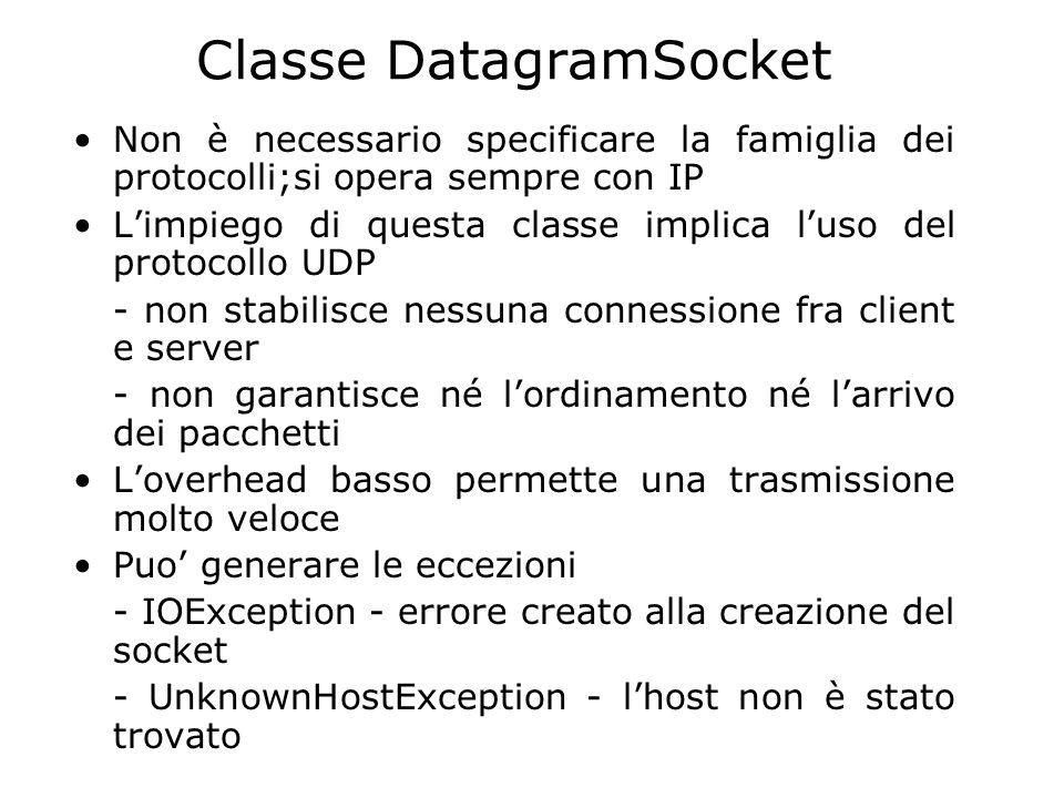 Classe DatagramSocket Non è necessario specificare la famiglia dei protocolli;si opera sempre con IP Limpiego di questa classe implica luso del protoc
