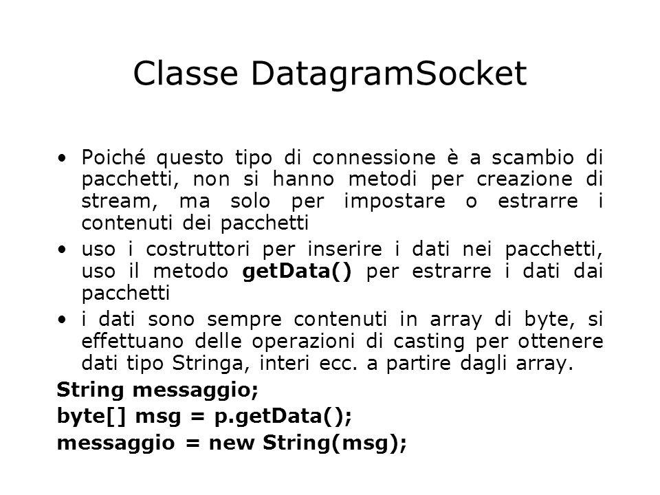 Classe DatagramSocket Poiché questo tipo di connessione è a scambio di pacchetti, non si hanno metodi per creazione di stream, ma solo per impostare o