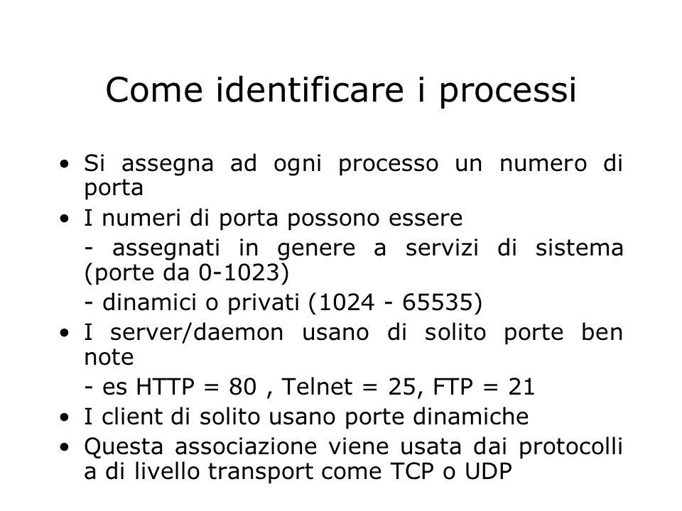 Come identificare i processi Si assegna ad ogni processo un numero di porta I numeri di porta possono essere - assegnati in genere a servizi di sistem