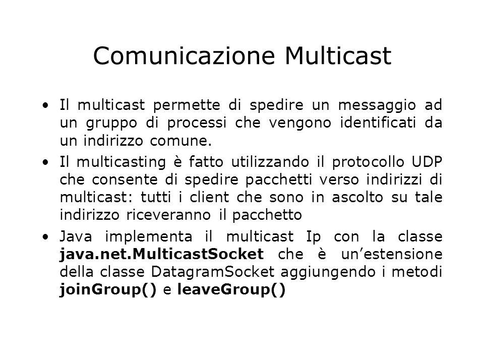 Comunicazione Multicast Il multicast permette di spedire un messaggio ad un gruppo di processi che vengono identificati da un indirizzo comune. Il mul