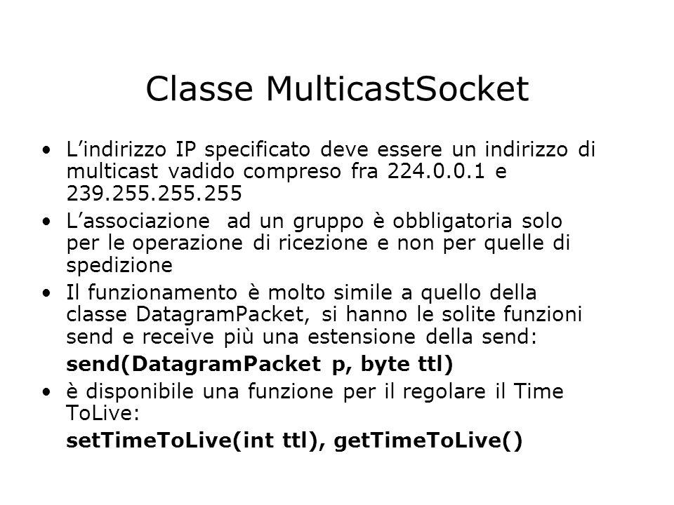 Classe MulticastSocket Lindirizzo IP specificato deve essere un indirizzo di multicast vadido compreso fra 224.0.0.1 e 239.255.255.255 Lassociazione a