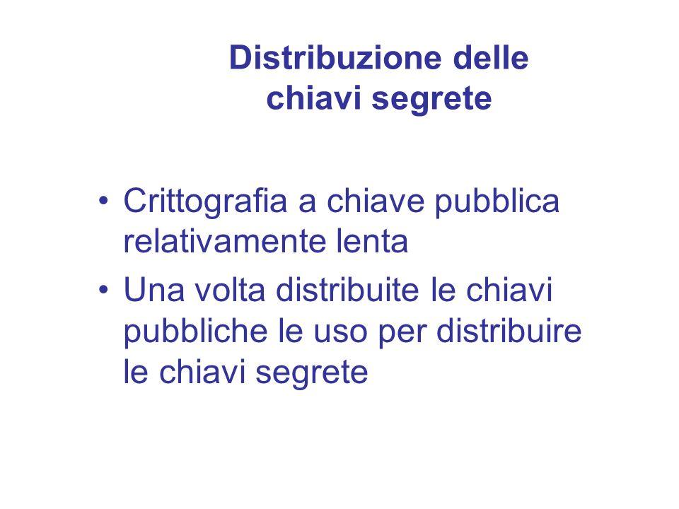 Distribuzione delle chiavi segrete Crittografia a chiave pubblica relativamente lenta Una volta distribuite le chiavi pubbliche le uso per distribuire