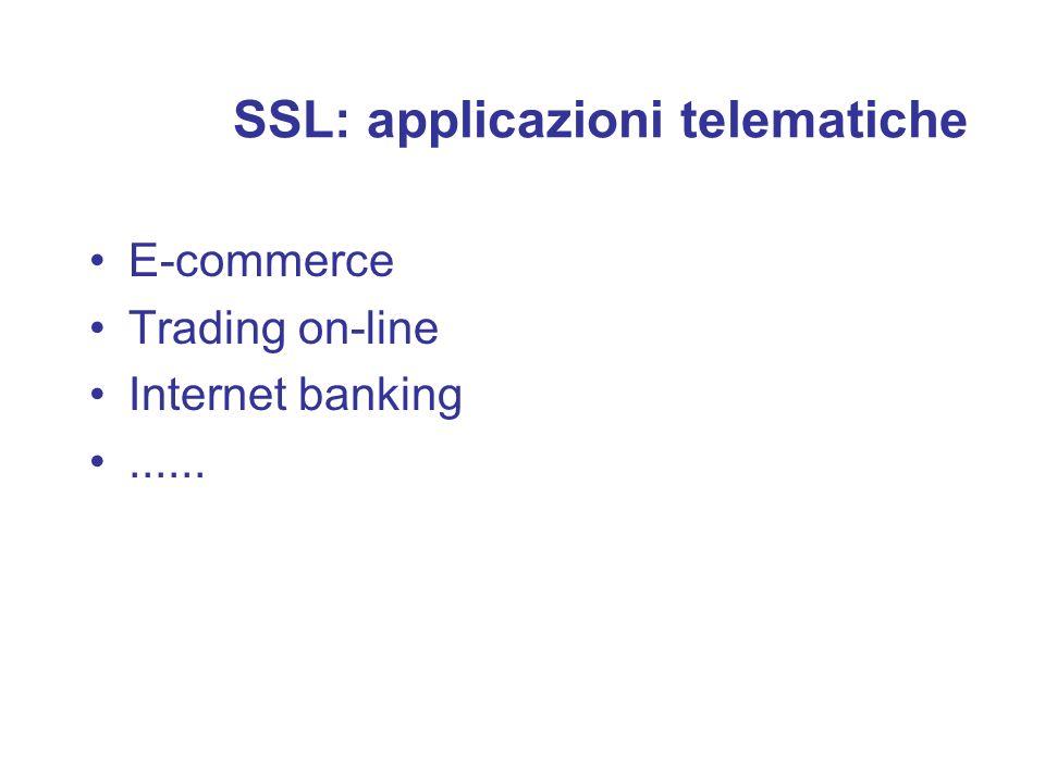 SSL: applicazioni telematiche E-commerce Trading on-line Internet banking......