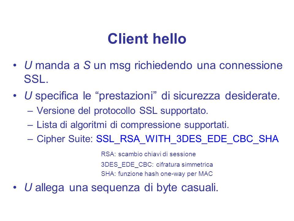 Client hello U manda a S un msg richiedendo una connessione SSL. U specifica le prestazioni di sicurezza desiderate. –Versione del protocollo SSL supp