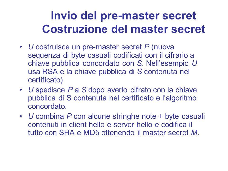 Invio del pre-master secret Costruzione del master secret U costruisce un pre-master secret P (nuova sequenza di byte casuali codificati con il cifrar
