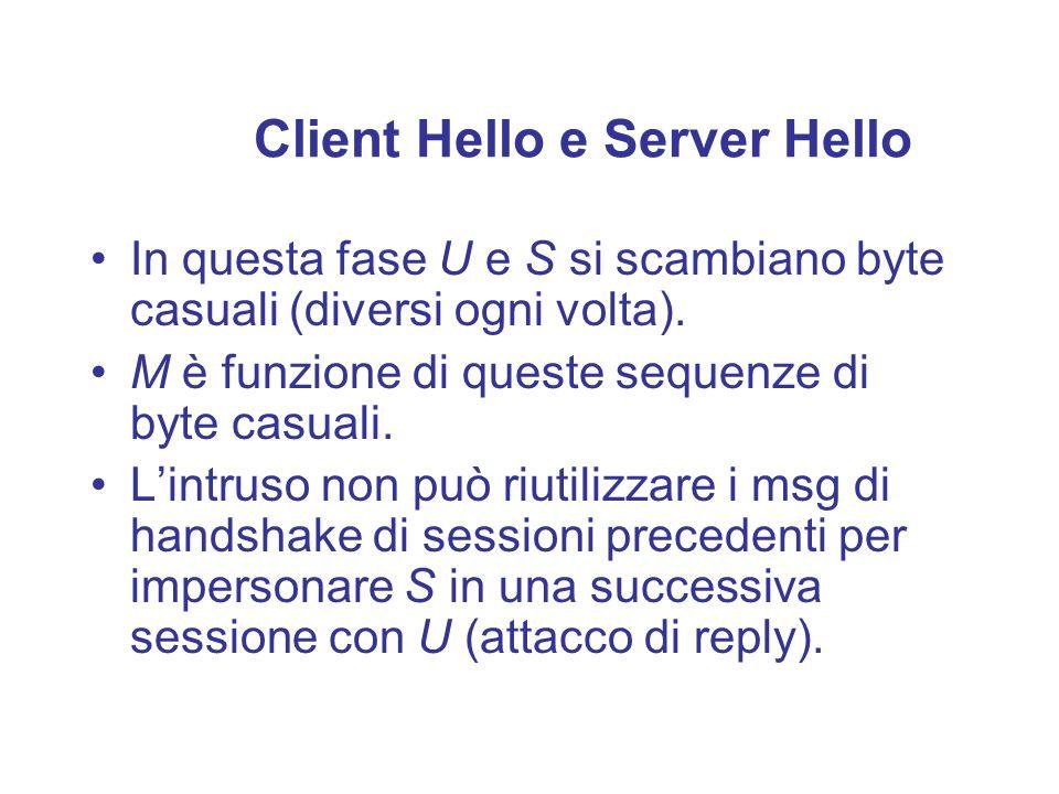 Client Hello e Server Hello In questa fase U e S si scambiano byte casuali (diversi ogni volta). M è funzione di queste sequenze di byte casuali. Lint