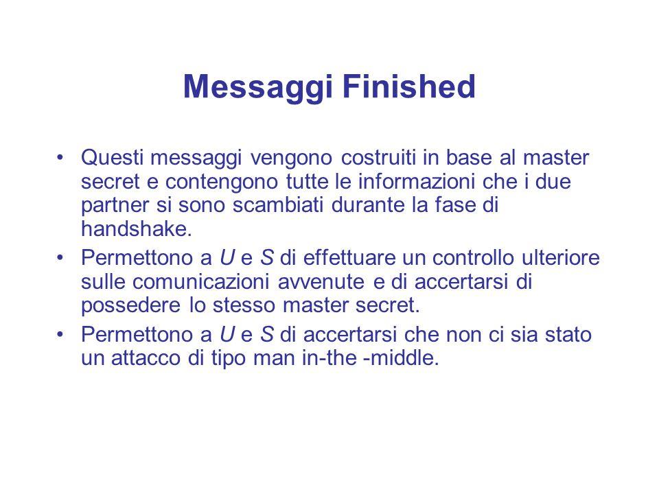 Messaggi Finished Questi messaggi vengono costruiti in base al master secret e contengono tutte le informazioni che i due partner si sono scambiati du