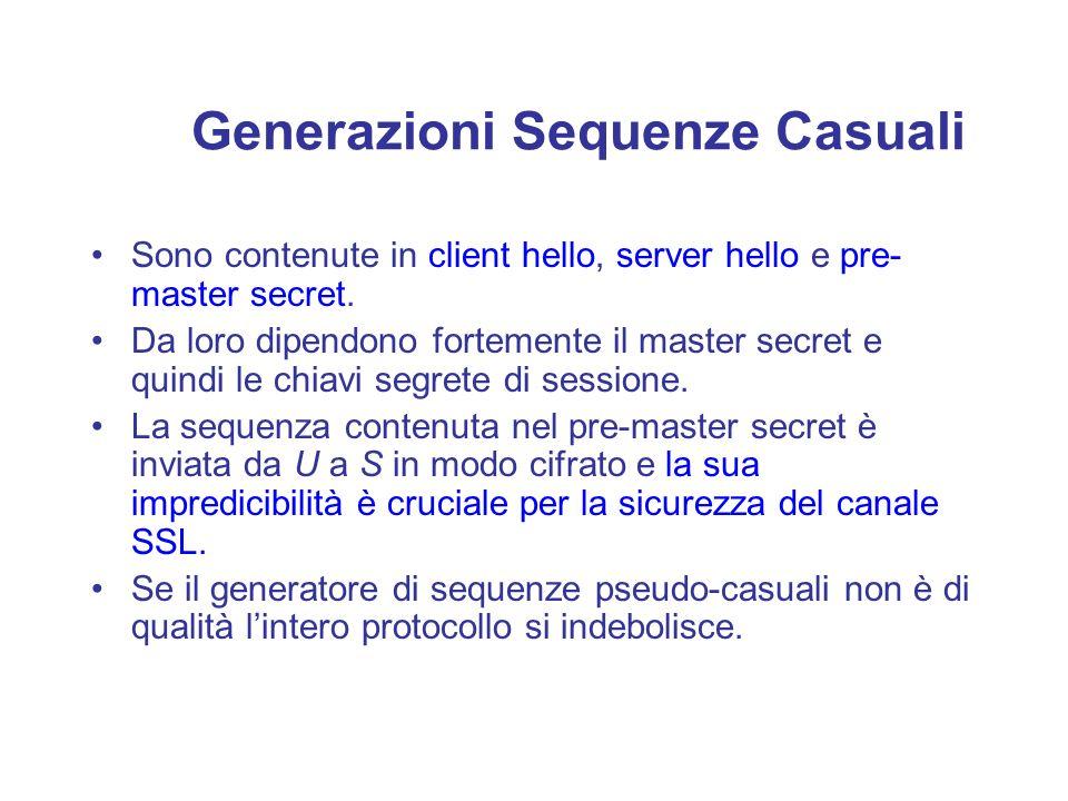 Generazioni Sequenze Casuali Sono contenute in client hello, server hello e pre- master secret. Da loro dipendono fortemente il master secret e quindi