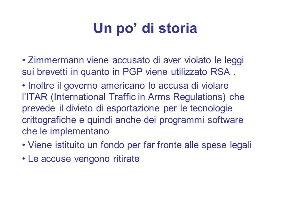 Un po di storia Zimmermann viene accusato di aver violato le leggi sui brevetti in quanto in PGP viene utilizzato RSA. Inoltre il governo americano lo
