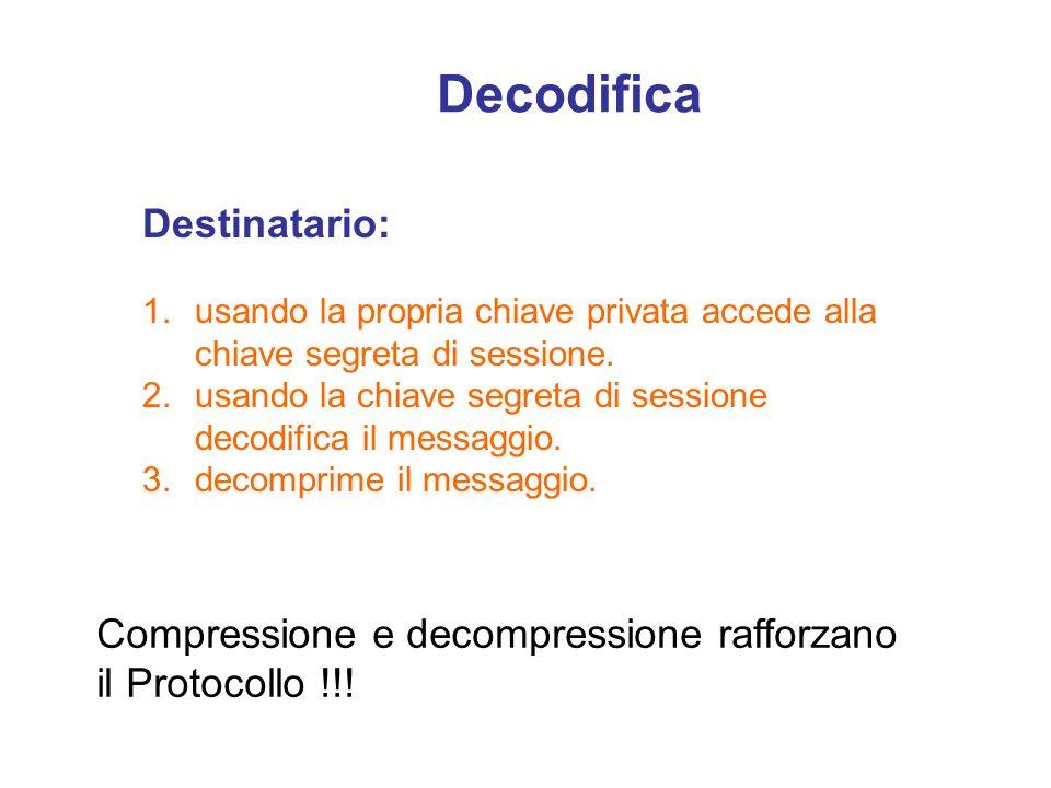 Decodifica Destinatario: 1.usando la propria chiave privata accede alla chiave segreta di sessione. 2.usando la chiave segreta di sessione decodifica