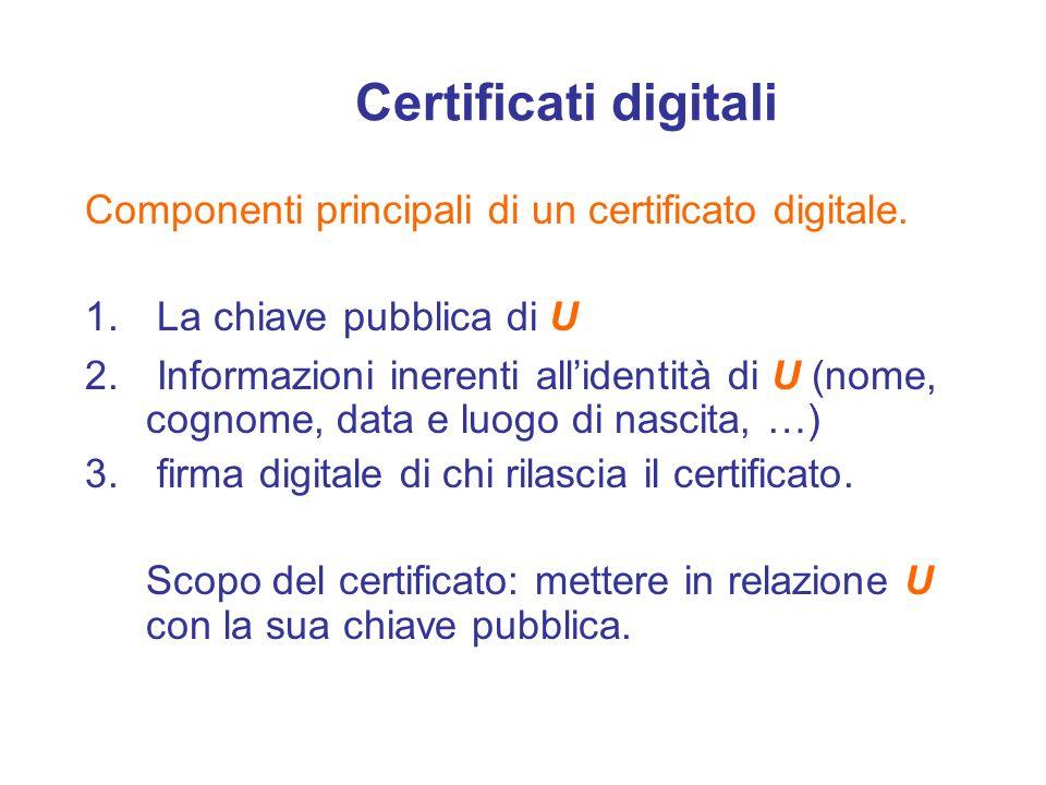 Certificati digitali Componenti principali di un certificato digitale. 1. La chiave pubblica di U 2. Informazioni inerenti allidentità di U (nome, cog