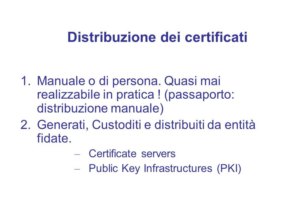 Distribuzione dei certificati 1.Manuale o di persona. Quasi mai realizzabile in pratica ! (passaporto: distribuzione manuale) 2.Generati, Custoditi e