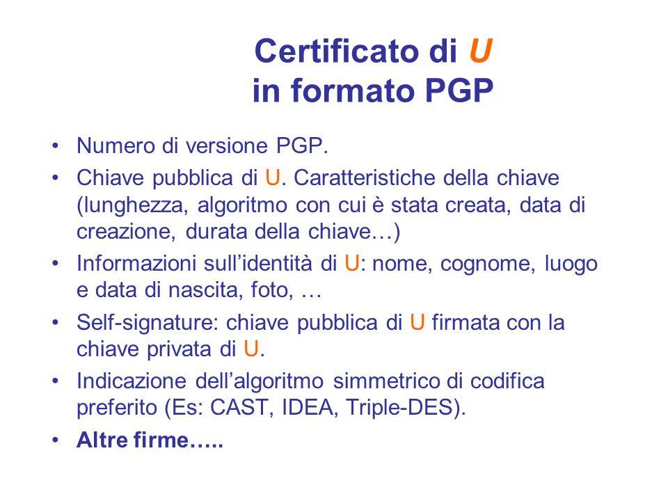 Certificato di U in formato PGP Numero di versione PGP. Chiave pubblica di U. Caratteristiche della chiave (lunghezza, algoritmo con cui è stata creat