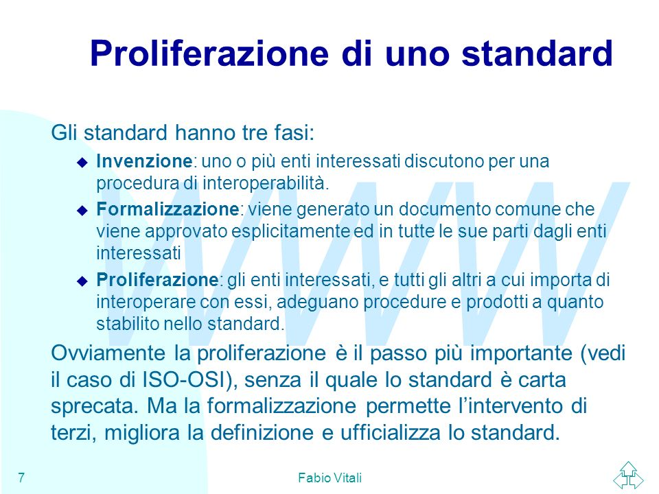WWW Fabio Vitali38 Conclusioni Oggi abbiamo parlato di u La necessità degli standard u Lorganizzazione ed il processo OSI/IEC u Lorganizzazione ed il processo W3C u Lorganizzazione ed il processo IETF