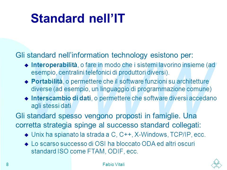 WWW Fabio Vitali19 W3C - Organizzazione tecnica n Le attività del W3C si articolano in quattro domini: u Interfaccia utente, u tecnologia e società, u architettura, u iniziativa di accessibilità al Web.