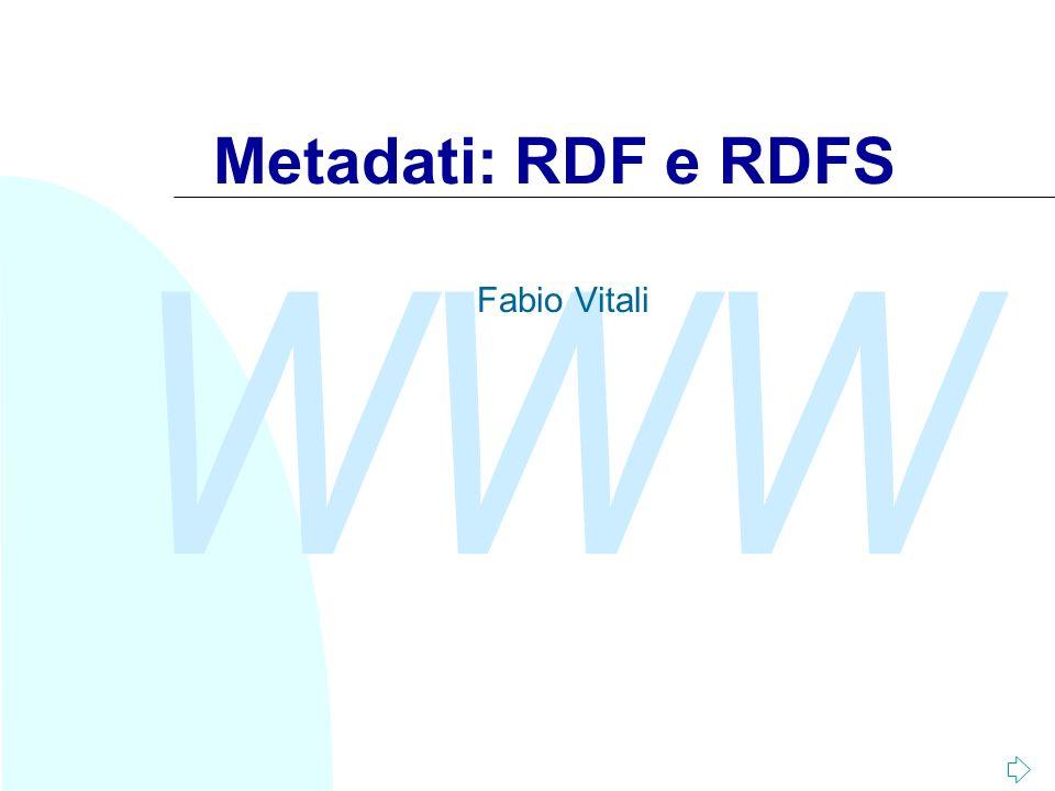 WWW A seguire: Le classi e le proprietà (1)31/45 RDF Schema 1.0 Il modello di RDF non permette di effettuare validazione di un valore o restrizione di un dominio di applicazione di una proprietà.