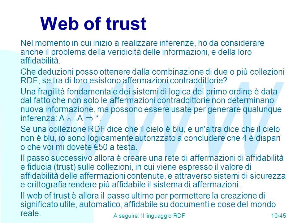 WWW A seguire: Il linguaggio RDF10/45 Web of trust Nel momento in cui inizio a realizzare inferenze, ho da considerare anche il problema della veridic