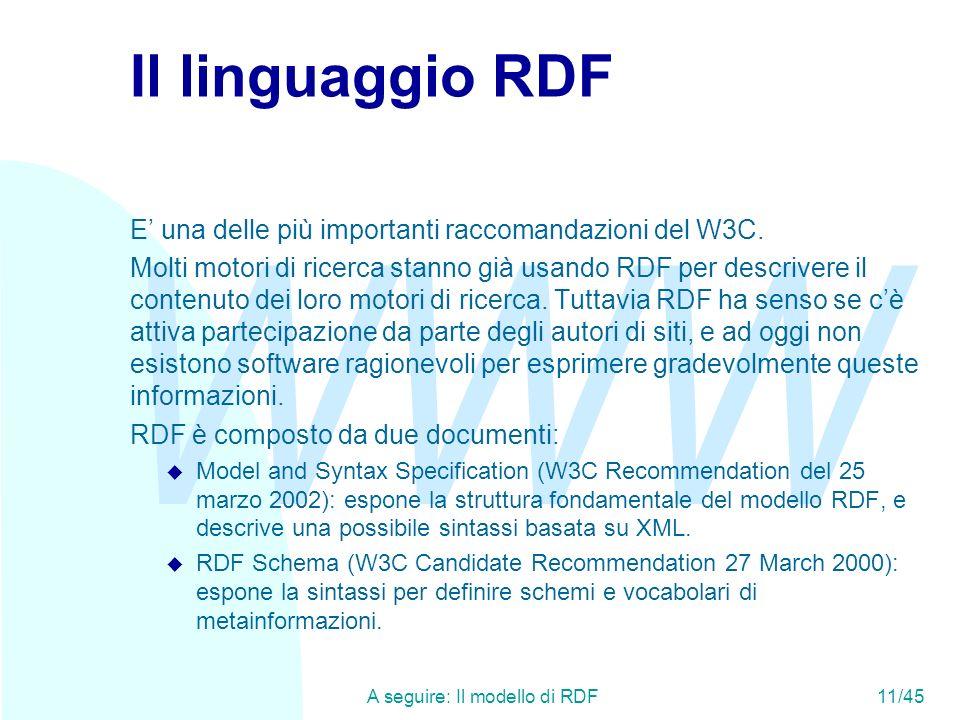 WWW A seguire: Il modello di RDF11/45 Il linguaggio RDF E una delle più importanti raccomandazioni del W3C. Molti motori di ricerca stanno già usando