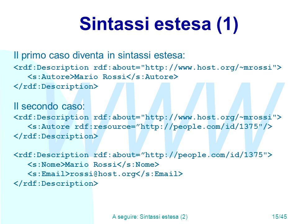 WWW A seguire: Sintassi estesa (2)15/45 Sintassi estesa (1) Il primo caso diventa in sintassi estesa: Mario Rossi Il secondo caso: Mario Rossi rossi@h