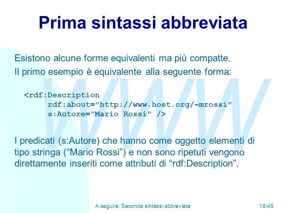 WWW A seguire: Seconda sintassi abbreviata18/45 Prima sintassi abbreviata Esistono alcune forme equivalenti ma più compatte. Il primo esempio è equiva