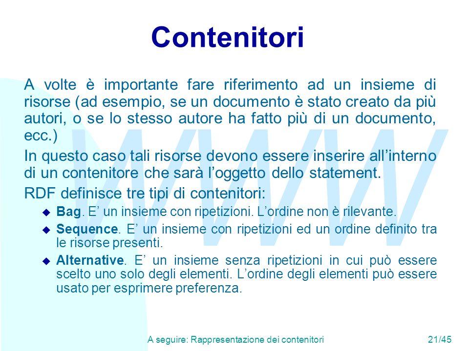 WWW A seguire: Rappresentazione dei contenitori21/45 Contenitori A volte è importante fare riferimento ad un insieme di risorse (ad esempio, se un doc