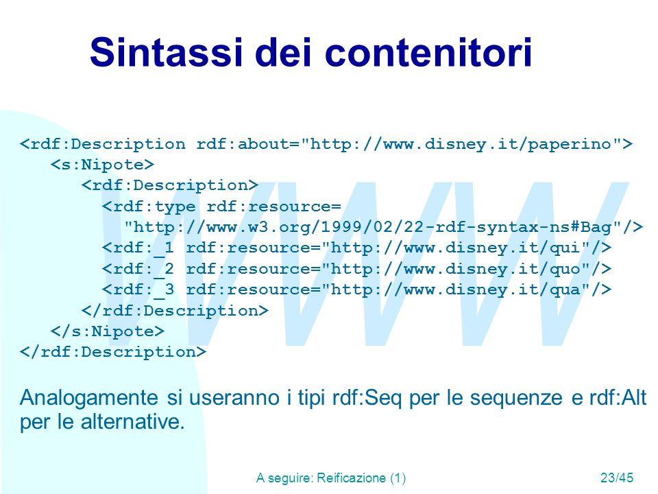 WWW A seguire: Reificazione (1)23/45 Sintassi dei contenitori <rdf:type rdf:resource=