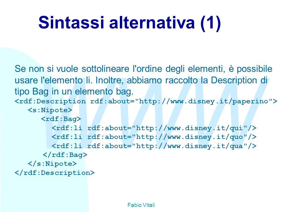 WWW Fabio Vitali Sintassi alternativa (1) Se non si vuole sottolineare l'ordine degli elementi, è possibile usare l'elemento li. Inoltre, abbiamo racc