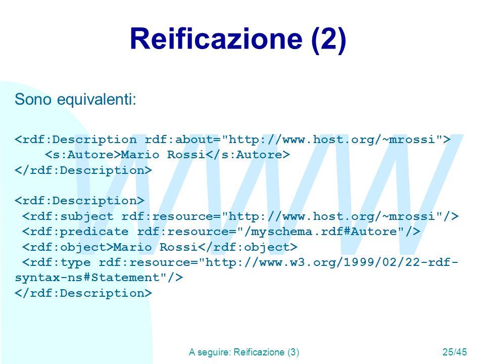WWW A seguire: Reificazione (3)25/45 Reificazione (2) Sono equivalenti: Mario Rossi Mario Rossi