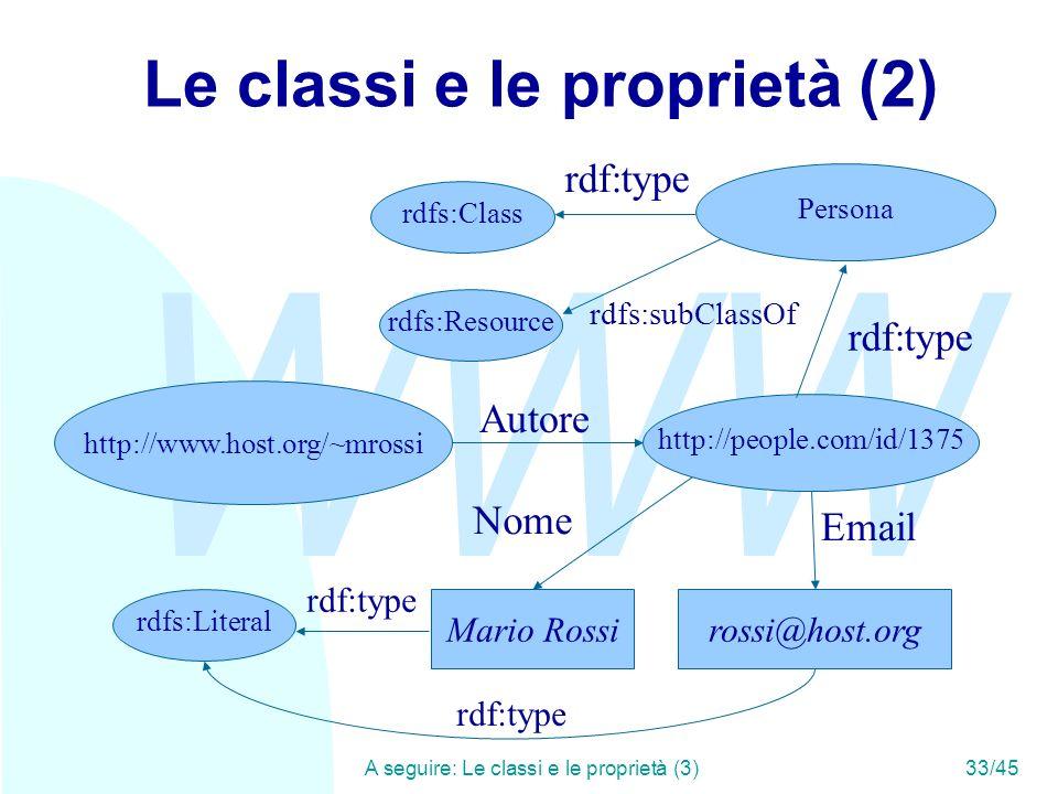 WWW A seguire: Le classi e le proprietà (3)33/45 Le classi e le proprietà (2) Mario Rossi Autore rossi@host.org http://people.com/id/1375 Nome Email h