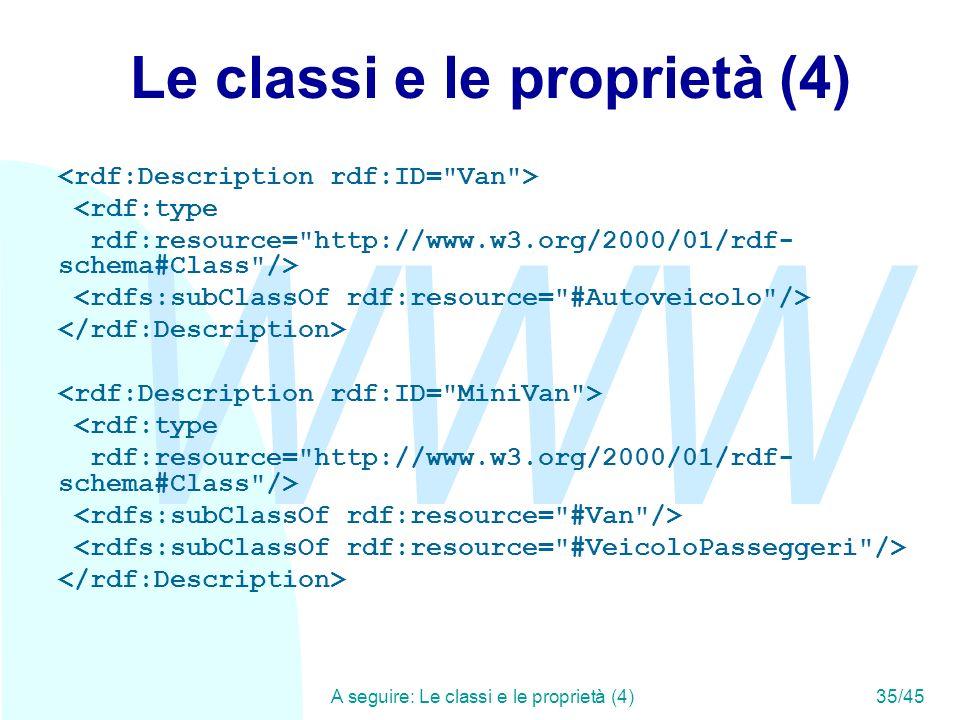 WWW A seguire: Le classi e le proprietà (4)35/45 Le classi e le proprietà (4) <rdf:type rdf:resource=