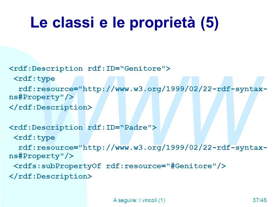 WWW A seguire: I vincoli (1)37/45 Le classi e le proprietà (5) <rdf:type rdf:resource=