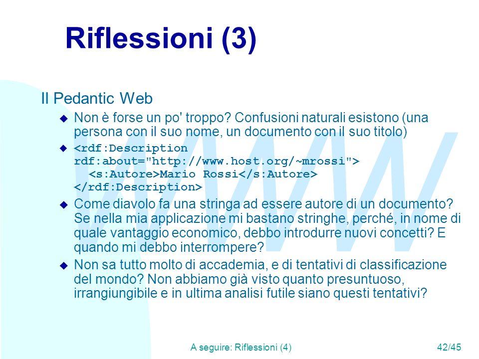 WWW A seguire: Riflessioni (4)42/45 Riflessioni (3) Il Pedantic Web u Non è forse un po' troppo? Confusioni naturali esistono (una persona con il suo