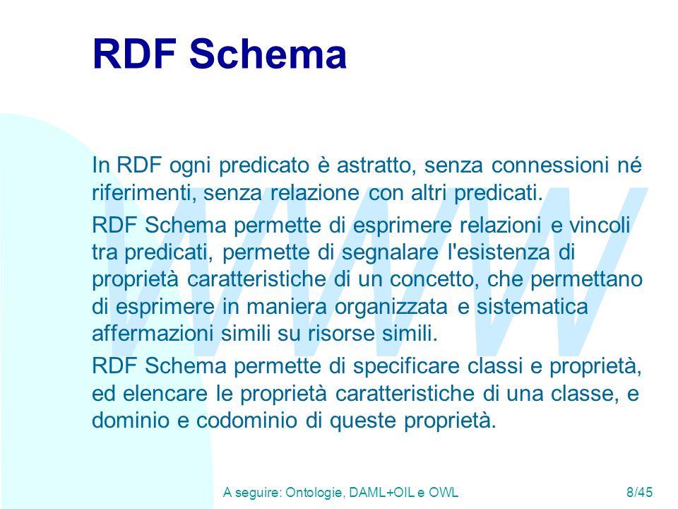 WWW A seguire: Ontologie, DAML+OIL e OWL8/45 RDF Schema In RDF ogni predicato è astratto, senza connessioni né riferimenti, senza relazione con altri